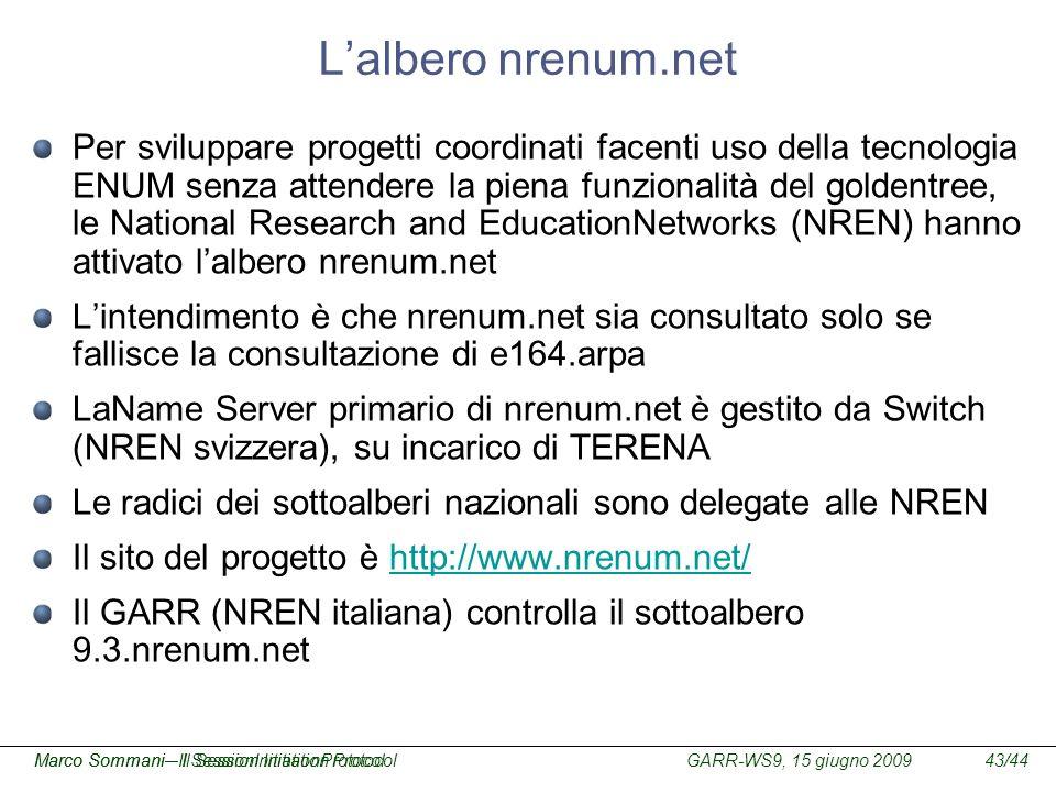 GARR-WS9, 15 giugno 2009Marco Sommani – Il Session Initiation Protocol43/44Marco Sommani– Il SessionInitiationProtocol Lalbero nrenum.net Per sviluppa