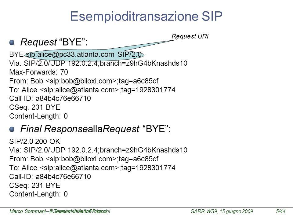 GARR-WS9, 15 giugno 2009Marco Sommani – Il Session Initiation Protocol5/44Marco Sommani– Il SessionInitiationProtocol Request URI Request BYE: BYE sip