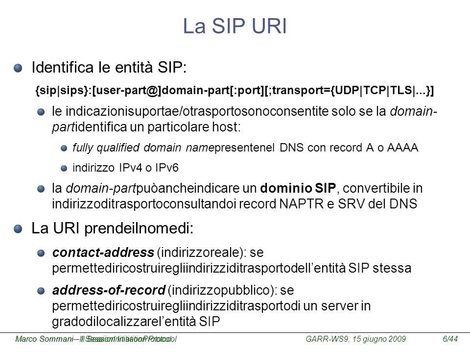 GARR-WS9, 15 giugno 2009Marco Sommani – Il Session Initiation Protocol6/44Marco Sommani– Il SessionInitiationProtocol La SIP URI Identifica le entità