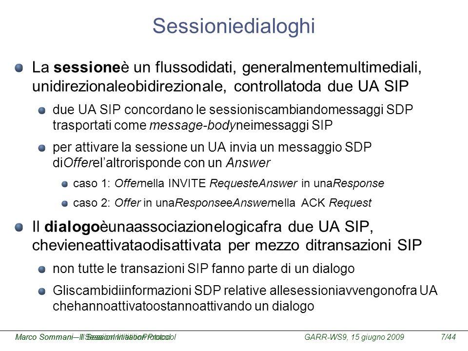 GARR-WS9, 15 giugno 2009Marco Sommani – Il Session Initiation Protocol7/44Marco Sommani– Il SessionInitiationProtocol Sessioniedialoghi La sessioneè u