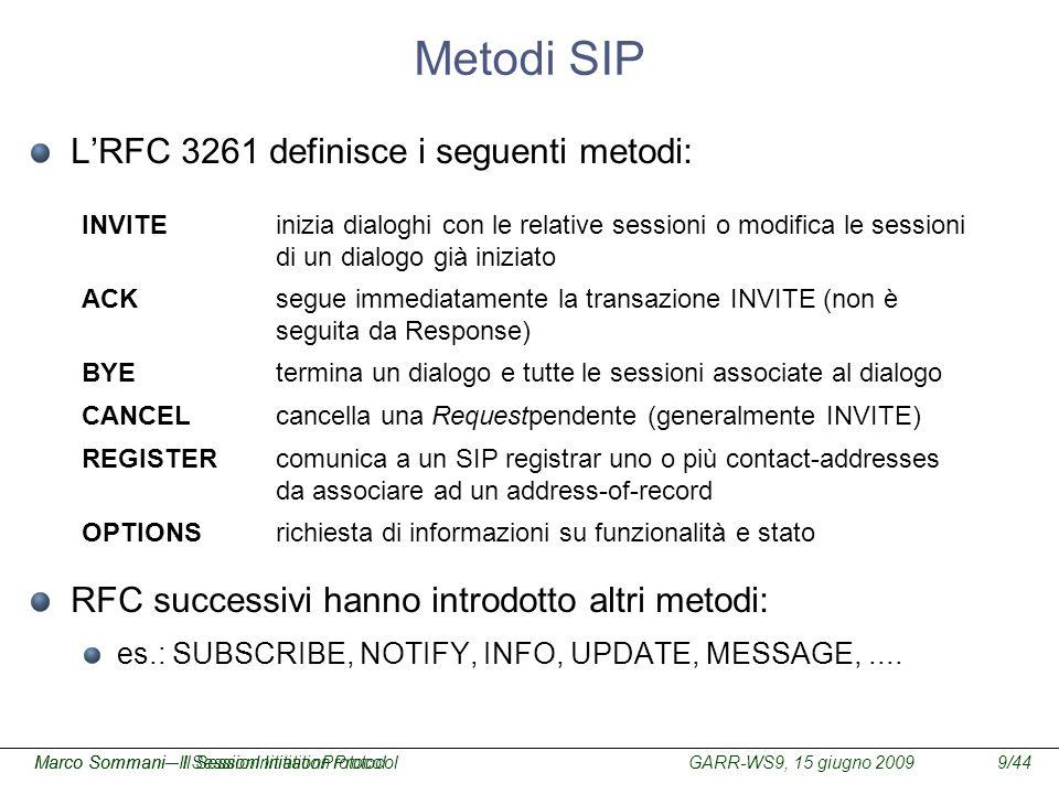 GARR-WS9, 15 giugno 2009Marco Sommani – Il Session Initiation Protocol9/44Marco Sommani– Il SessionInitiationProtocol Metodi SIP LRFC 3261 definisce i