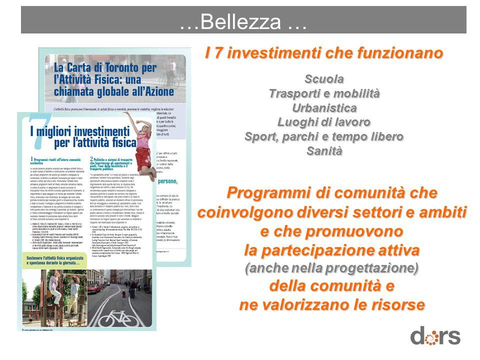 I 7 investimenti che funzionano Scuola Trasporti e mobilità Urbanistica Luoghi di lavoro Sport, parchi e tempo libero Sanità Programmi di comunità che