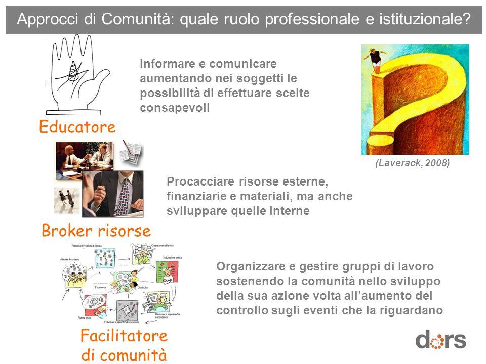 (Laverack, 2008) Educatore Informare e comunicare aumentando nei soggetti le possibilità di effettuare scelte consapevoli Broker risorse Procacciare r