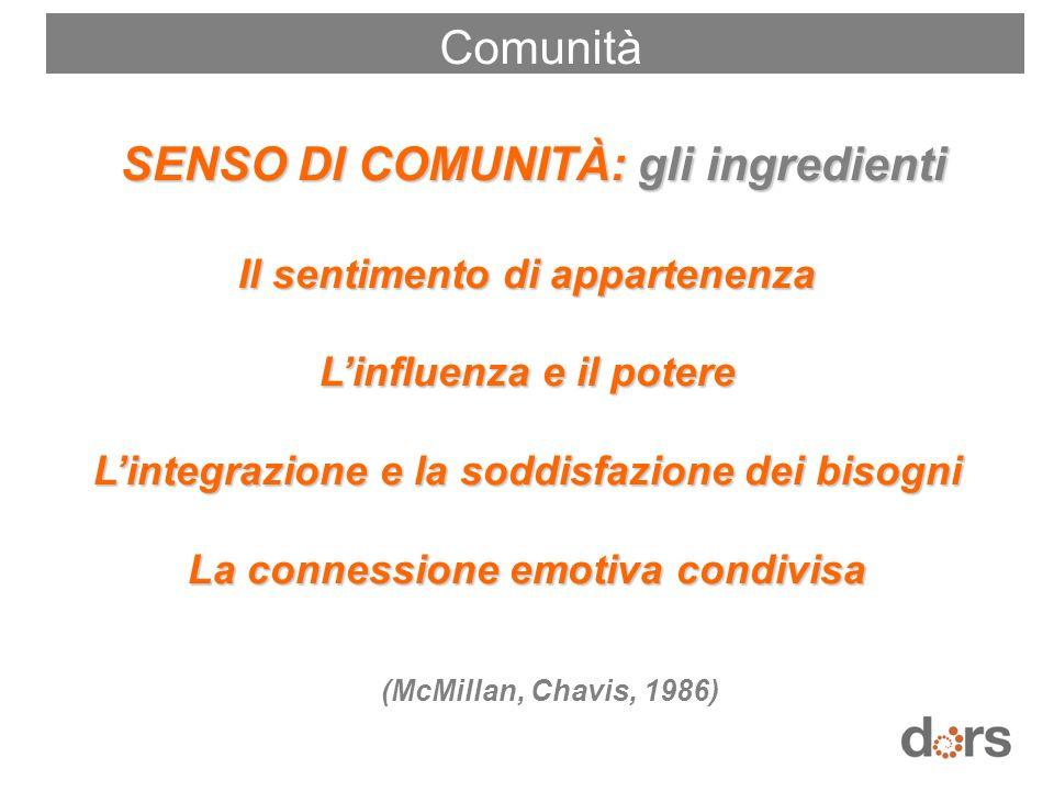 SENSO DI COMUNITÀ: gli ingredienti SENSO DI COMUNITÀ: gli ingredienti Il sentimento di appartenenza Linfluenza e il potere Lintegrazione e la soddisfa