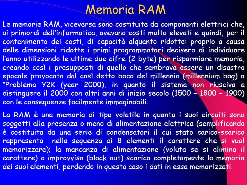 Memoria ROM Come visto nello schema precedente per ROM sintende una memoria di sola lettura (read only memory) e per RAM una memoria ad accesso casual