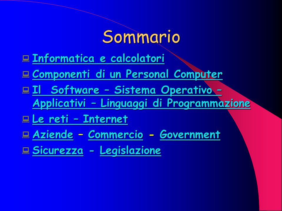 Laptop/Personal Computer Sono considerati i computer per antonomasia, destinati, in origine, alluso personale ed isolato (stand alone); con lavvento delle reti aziendali sono in grado di svolgere attività lavorative di tipo intelligente.