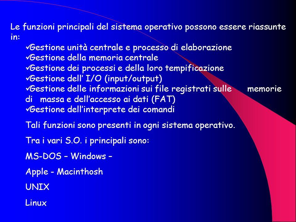 Il Sistema Operativo Un sistema operativo è un insieme di programmi che vengono eseguiti allavvio del calcolatore (controllo delle memorie, delle peri