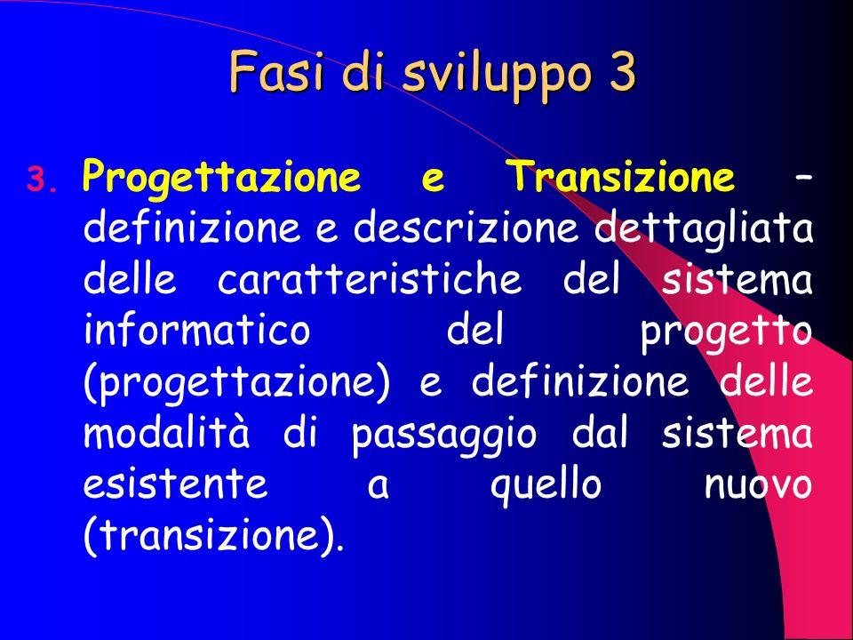 Fasi di sviluppo 2 2. Analisi – lo scopo è la determinazione e descrizione delle componenti del progetto, tra cui quelle fondamentali sono i dati inte