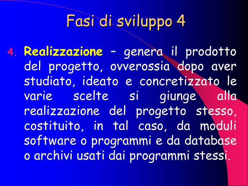 Fasi di sviluppo 3 3. Progettazione e Transizione – definizione e descrizione dettagliata delle caratteristiche del sistema informatico del progetto (