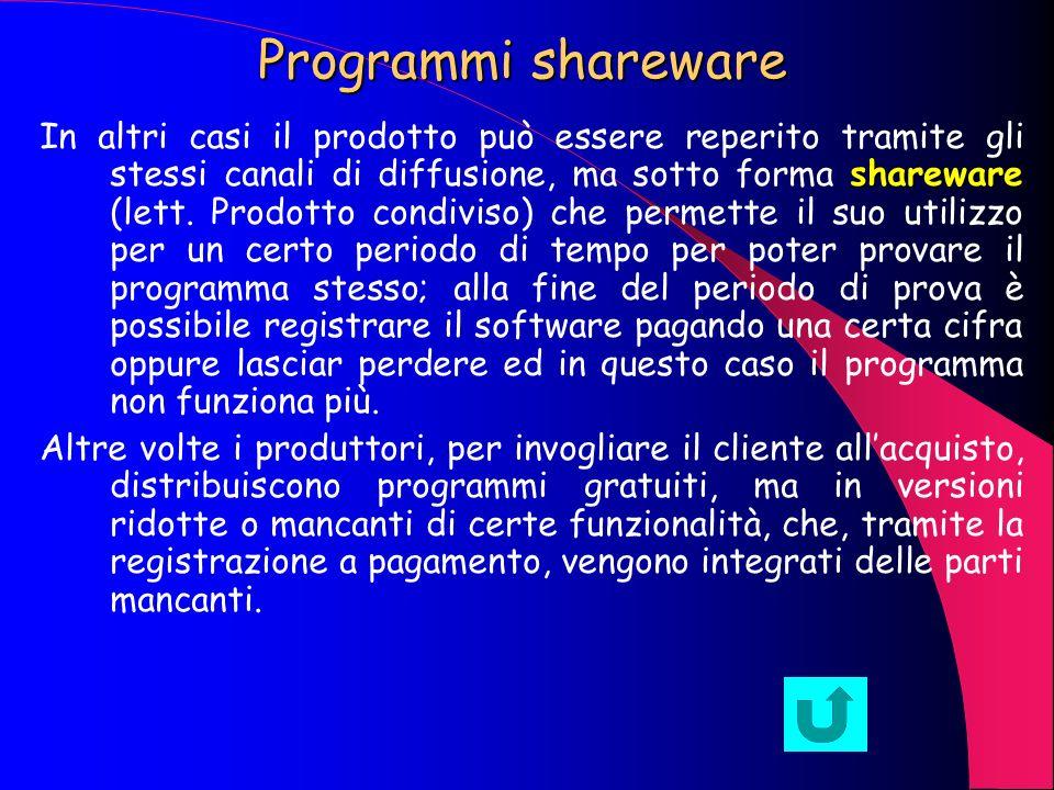 Programmi freeware Una volta che il programma è stato testato e prodotto, viene immesso sul mercato per la sua diffusione e, a seconda delle intenzion