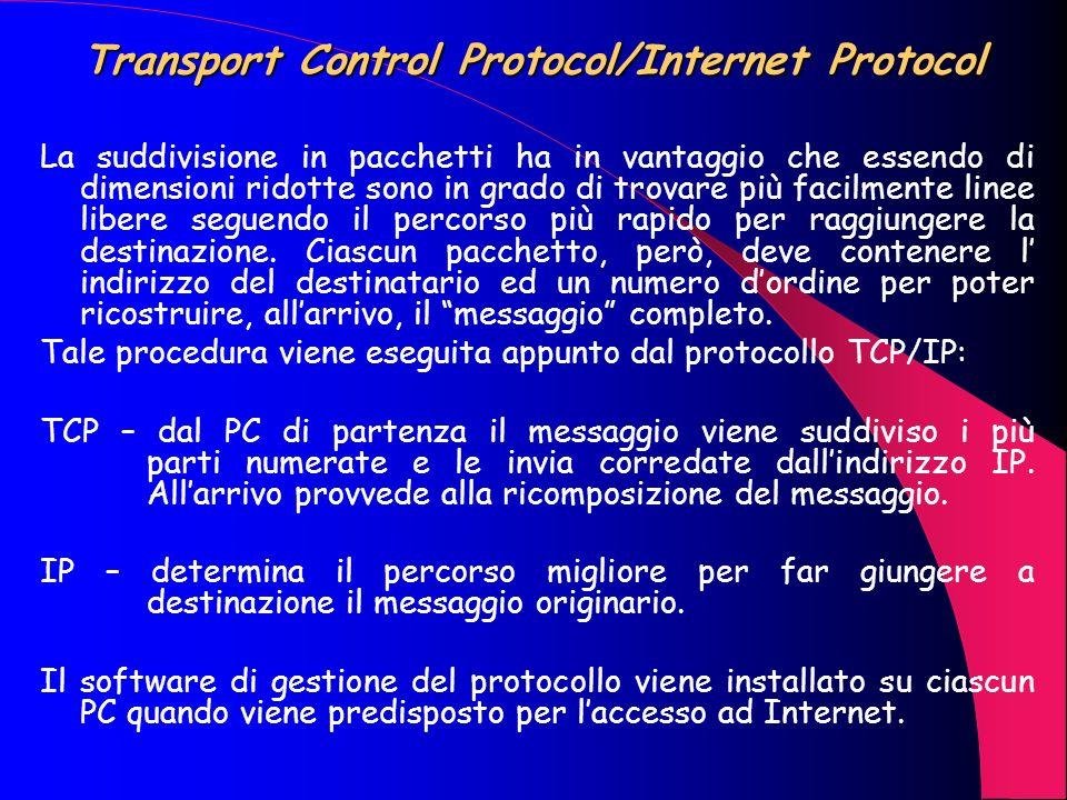Internet ed il TCP/IP Lorigine di Internet è datata 1969 ed il progetto iniziale aveva come obiettivo la creazione di una rete che collegasse tra loro