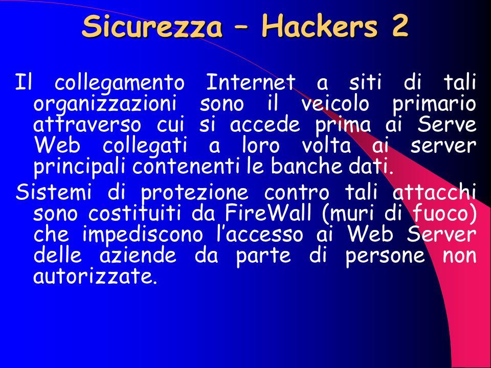Sicurezza – Hackers 1 Per quanto riguarda i così detti Hackers, che nella sostanza sono dei veri e propri criminali, il singolo utente ha ben poco da
