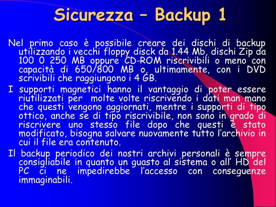 Sicurezza – Backup Un aspetto sempre più importante e problematico è larchiviazione dei dati e la loro conservazione. La perdita di un archivio compor
