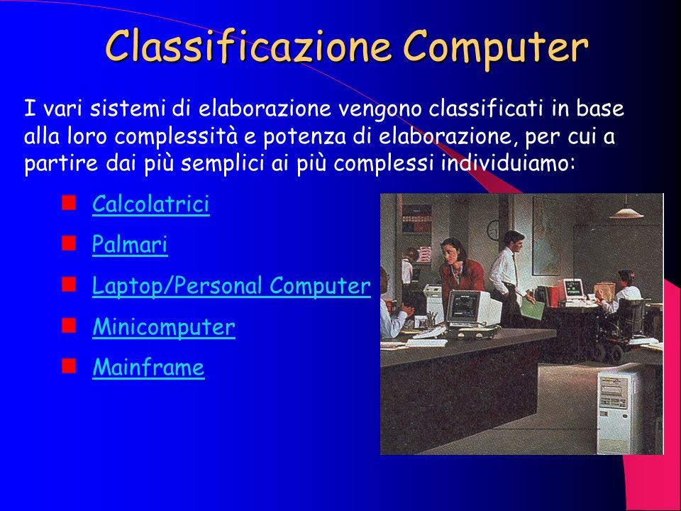 Classificazione Computer I vari sistemi di elaborazione vengono classificati in base alla loro complessità e potenza di elaborazione, per cui a partire dai più semplici ai più complessi individuiamo: Calcolatrici Palmari Laptop/Personal Computer Minicomputer Mainframe