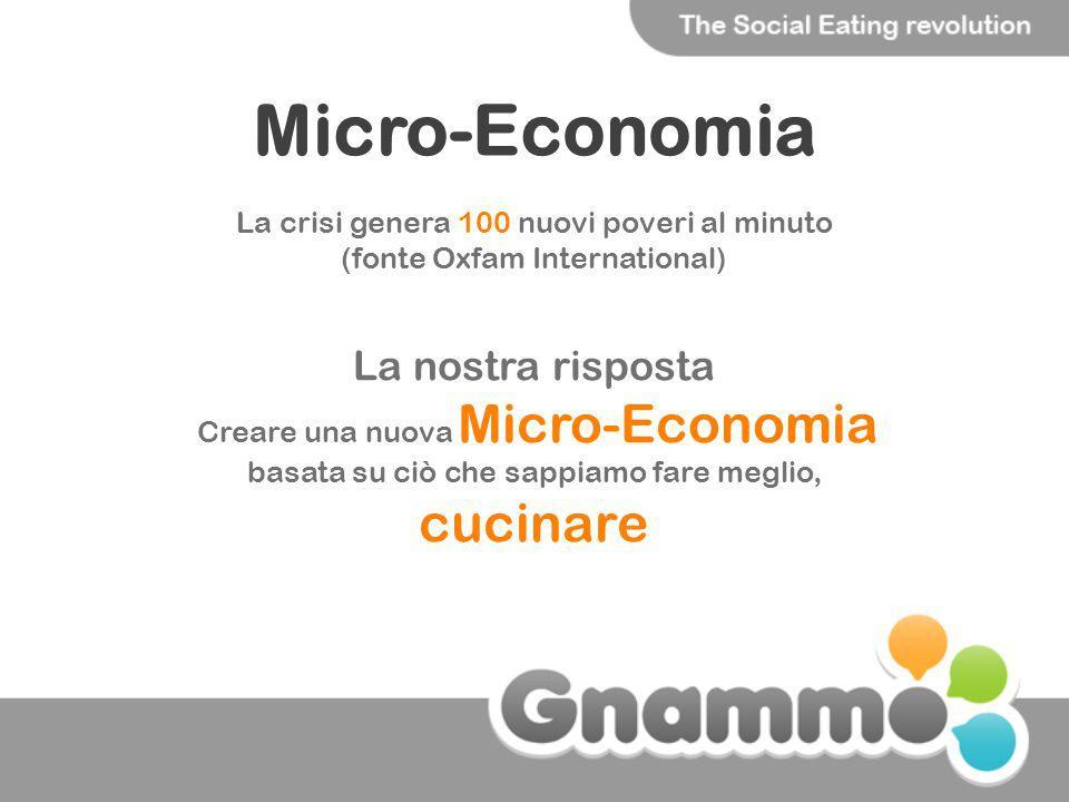 Micro-Economia La crisi genera 100 nuovi poveri al minuto (fonte Oxfam International) La nostra risposta Creare una nuova Micro-Economia basata su ciò