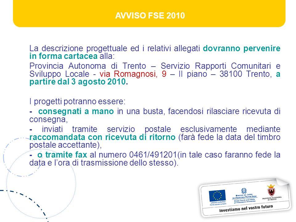 AVVISO FSE 2010 La descrizione progettuale ed i relativi allegati dovranno pervenire in forma cartacea alla: Provincia Autonoma di Trento – Servizio R