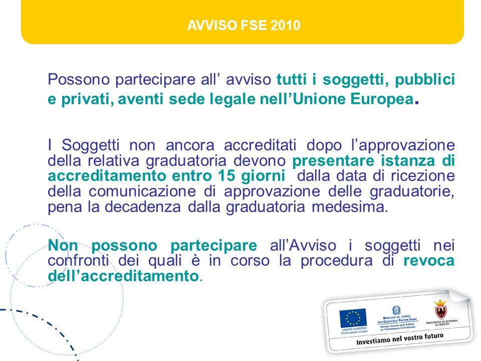 AVVISO FSE 2010 Possono partecipare all avviso tutti i soggetti, pubblici e privati, aventi sede legale nellUnione Europea. I Soggetti non ancora accr