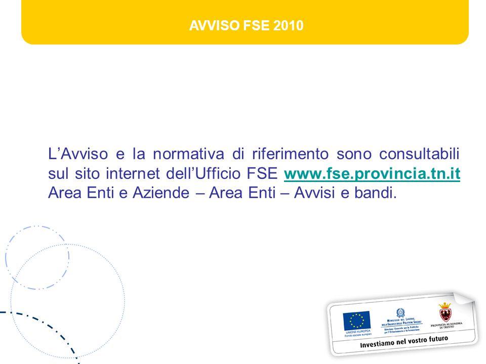 AVVISO FSE 2010 LAvviso e la normativa di riferimento sono consultabili sul sito internet dellUfficio FSE www.fse.provincia.tn.it Area Enti e Aziende – Area Enti – Avvisi e bandi.www.fse.provincia.tn.it