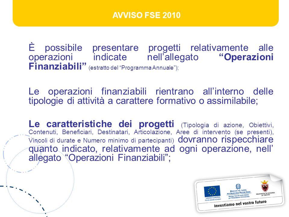 AVVISO FSE 2010 È possibile presentare progetti relativamente alle operazioni indicate nellallegato Operazioni Finanziabili (estratto del Programma An