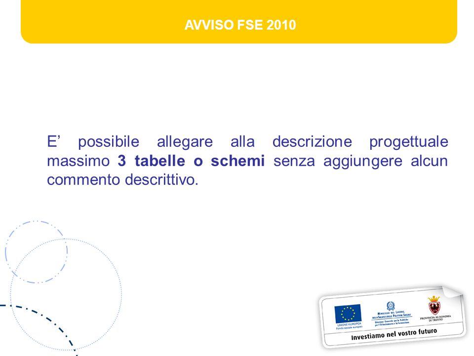 AVVISO FSE 2010 E possibile allegare alla descrizione progettuale massimo 3 tabelle o schemi senza aggiungere alcun commento descrittivo.