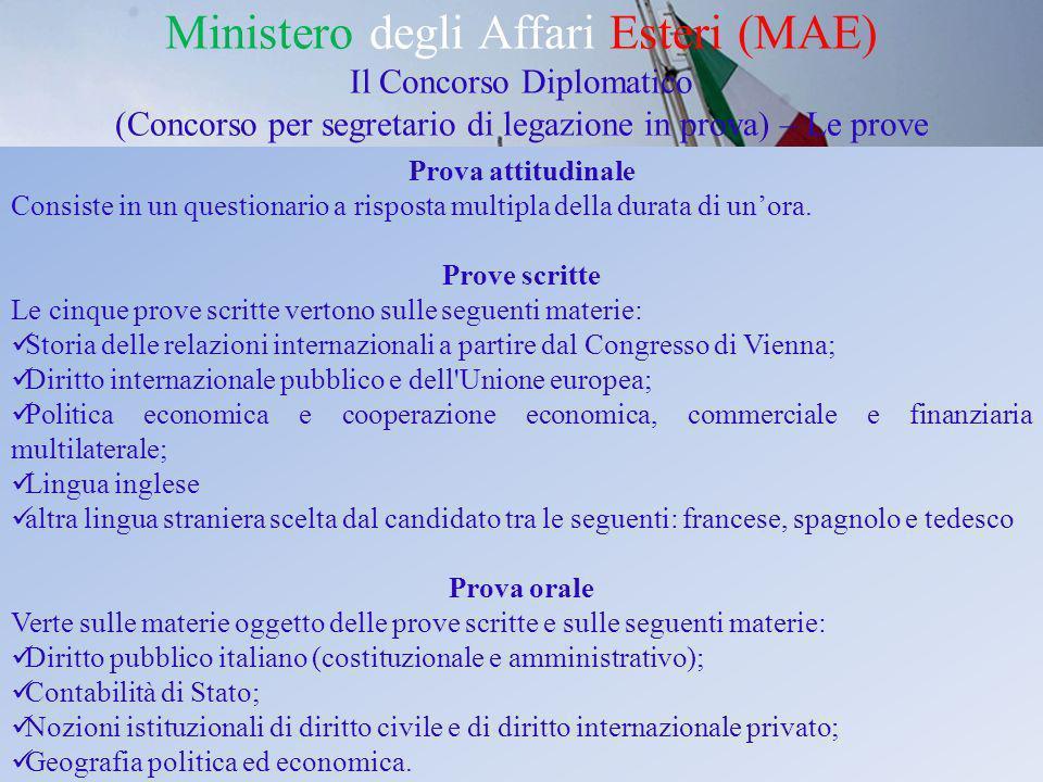 Ministero degli Affari Esteri (MAE) Il Concorso Diplomatico (Concorso per segretario di legazione in prova) – Le prove Prova attitudinale Consiste in