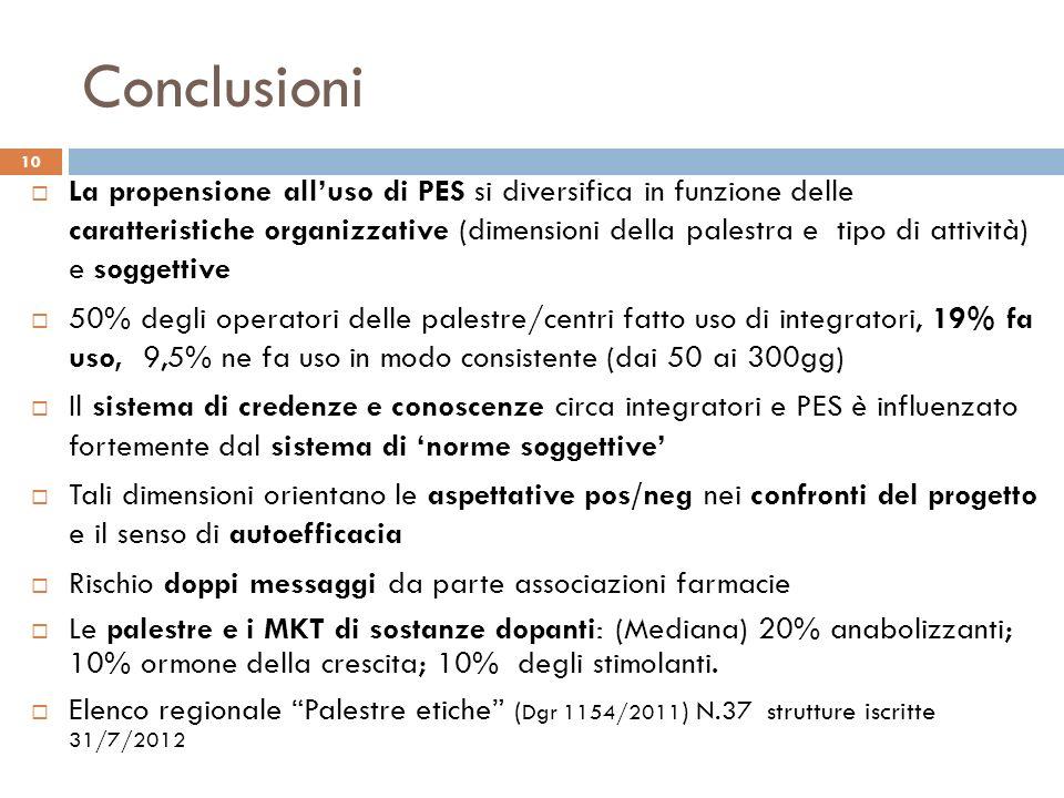 Conclusioni La propensione alluso di PES si diversifica in funzione delle caratteristiche organizzative (dimensioni della palestra e tipo di attività)