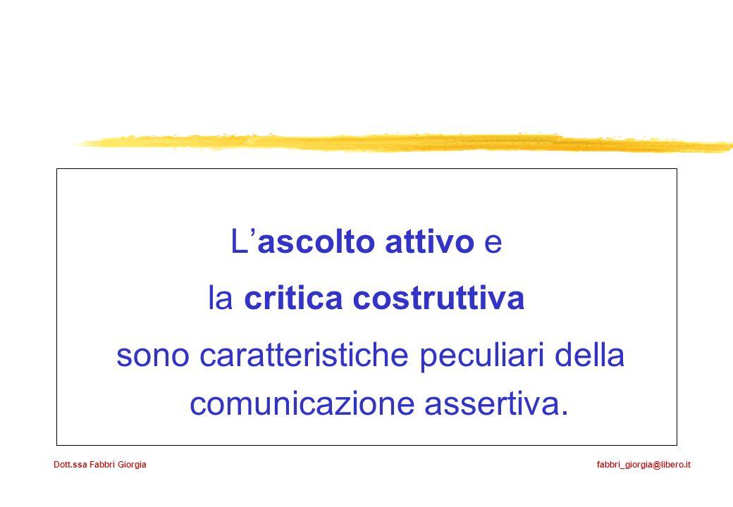 Dott.ssa Fabbri Giorgia fabbri_giorgia@libero.it Lascolto attivo e la critica costruttiva sono caratteristiche peculiari della comunicazione assertiva