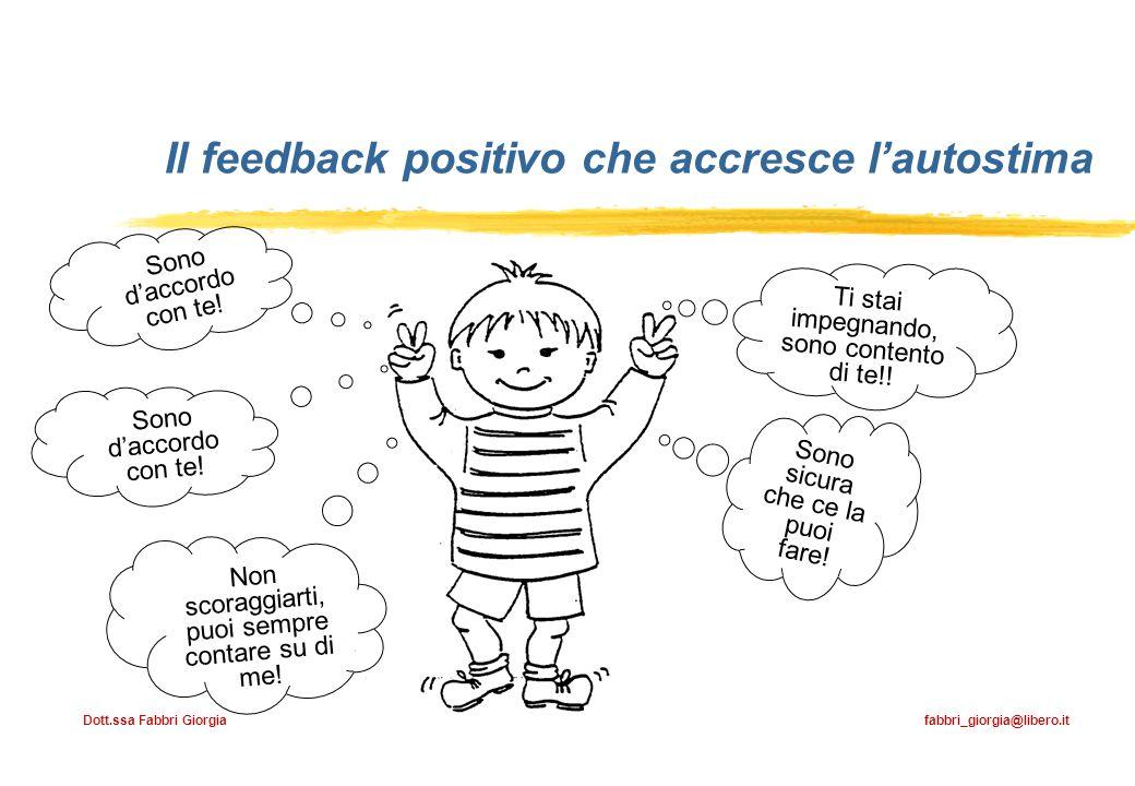 Dott.ssa Fabbri Giorgia fabbri_giorgia@libero.it Il feedback positivo che accresce lautostima Ti stai impegnando, sono contento di te!! Sono sicura ch