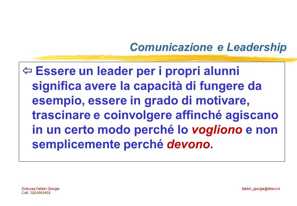 Dott.ssa Fabbri Giorgia fabbri_giorgia@libero.it Cell. 328 6965402 Essere un leader per i propri alunni significa avere la capacità di fungere da esem