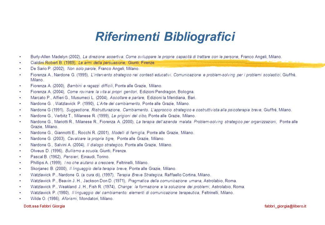 Riferimenti Bibliografici Burly-Allen Madelyn (2002), La direzione assertiva. Come sviluppare le proprie capacità di trattare con le persone, Franco A