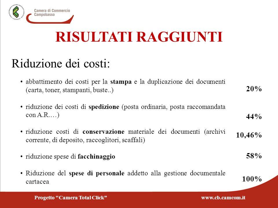 Riduzione dei costi: abbattimento dei costi per la stampa e la duplicazione dei documenti (carta, toner, stampanti, buste..) riduzione dei costi di sp