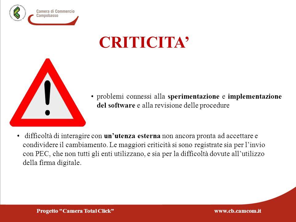 CRITICITA problemi connessi alla sperimentazione e implementazione del software e alla revisione delle procedure difficoltà di interagire con unutenza