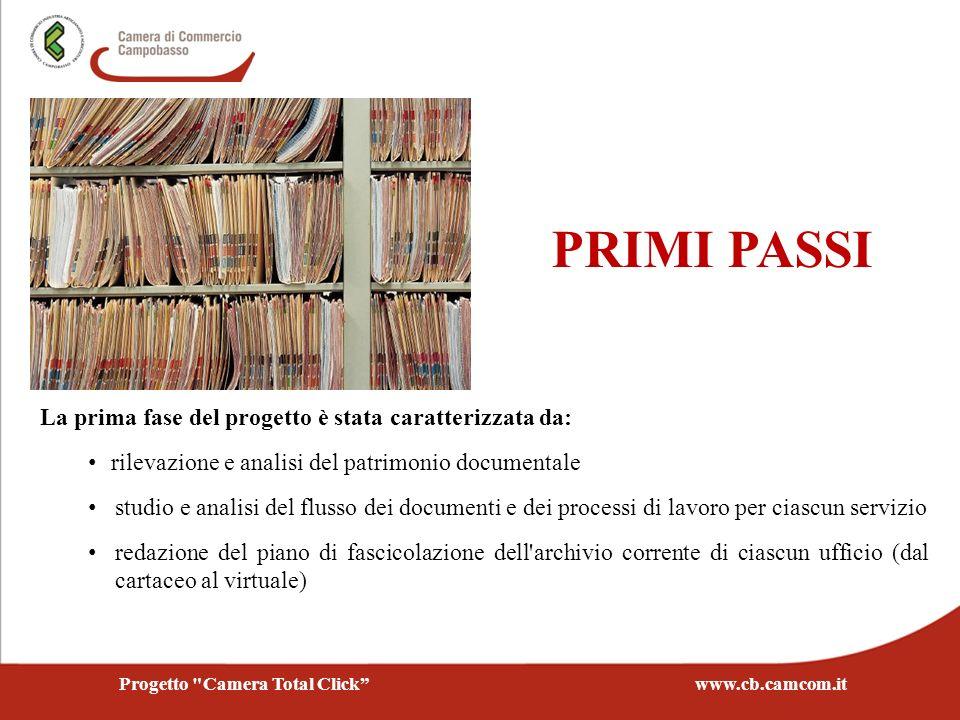 La prima fase del progetto è stata caratterizzata da: rilevazione e analisi del patrimonio documentale studio e analisi del flusso dei documenti e dei