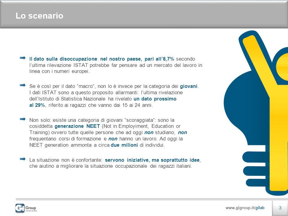www.gigroup.it/gilab 3 Lo scenario Il dato sulla disoccupazione nel nostro paese, pari all8,7% secondo lultima rilevazione ISTAT potrebbe far pensare ad un mercato del lavoro in linea con i numeri europei.