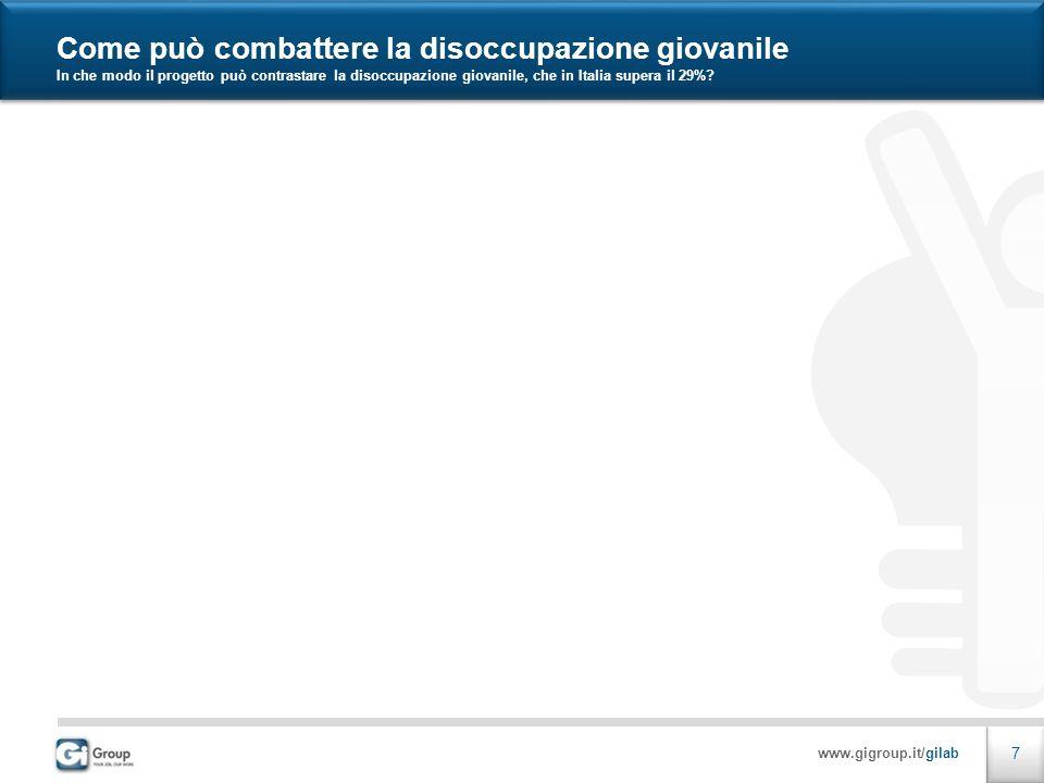 www.gigroup.it/gilab 7 Come può combattere la disoccupazione giovanile In che modo il progetto può contrastare la disoccupazione giovanile, che in Italia supera il 29%