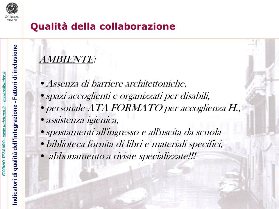 FIORINO TESSARO– www.univirtual.it – tessaro@unive.itwww.univirtual.ittessaro@unive.it Indicatori di qualità dellintegrazione - Fattori di inclusione