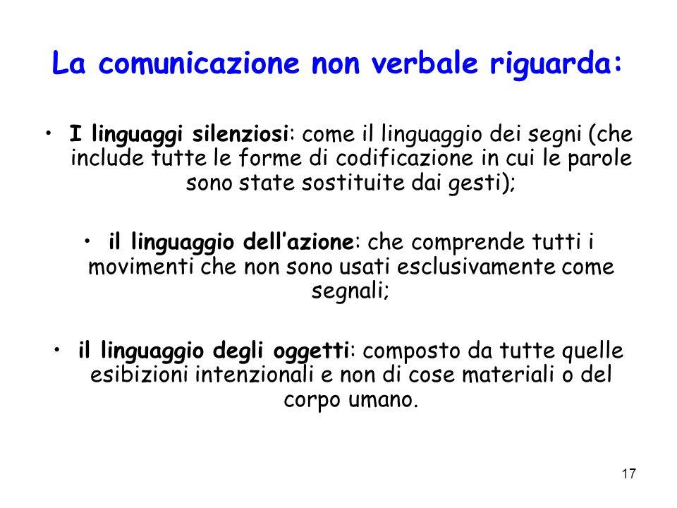 17 La comunicazione non verbale riguarda: I linguaggi silenziosi: come il linguaggio dei segni (che include tutte le forme di codificazione in cui le