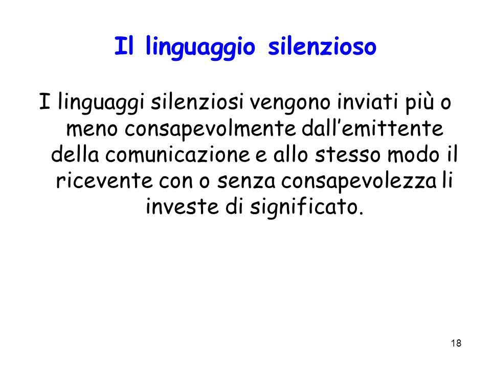 18 Il linguaggio silenzioso I linguaggi silenziosi vengono inviati più o meno consapevolmente dallemittente della comunicazione e allo stesso modo il