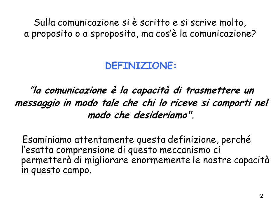 2 Sulla comunicazione si è scritto e si scrive molto, a proposito o a sproposito, ma cosè la comunicazione? DEFINIZIONE: la comunicazione è la capacit