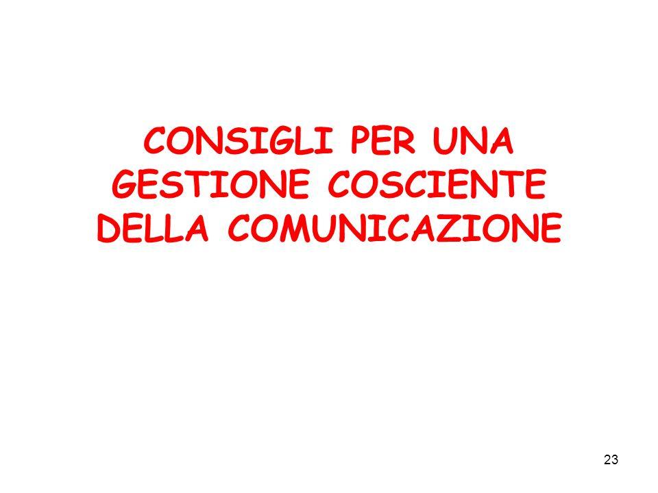 23 CONSIGLI PER UNA GESTIONE COSCIENTE DELLA COMUNICAZIONE