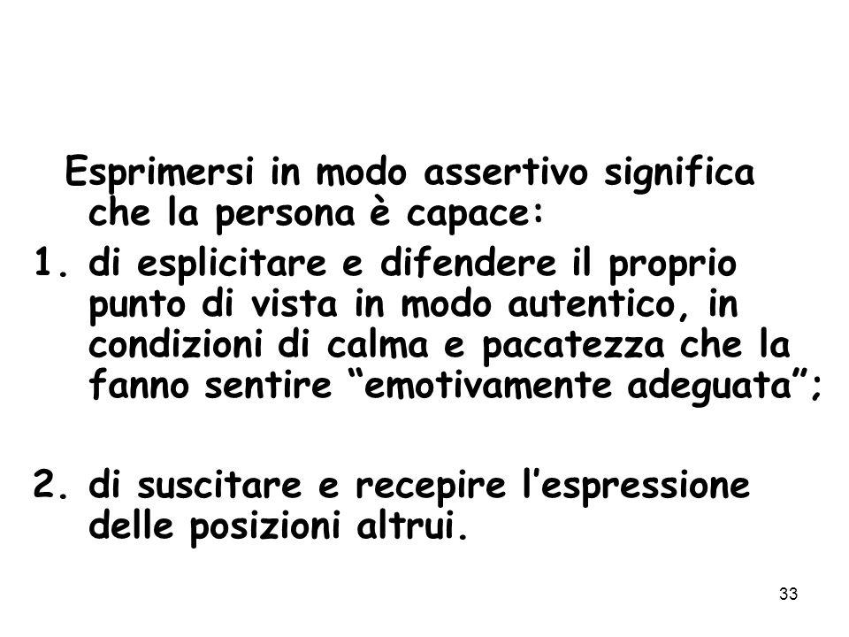 33 Esprimersi in modo assertivo significa che la persona è capace: 1.di esplicitare e difendere il proprio punto di vista in modo autentico, in condiz