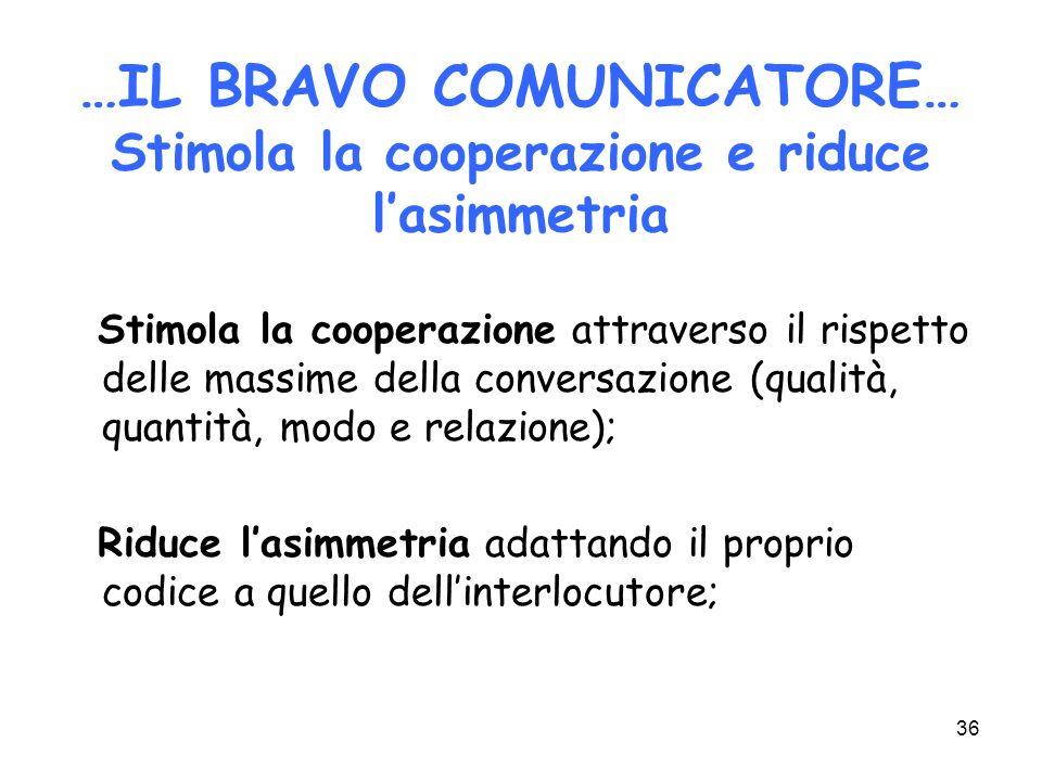36 …IL BRAVO COMUNICATORE… Stimola la cooperazione e riduce lasimmetria Stimola la cooperazione attraverso il rispetto delle massime della conversazio