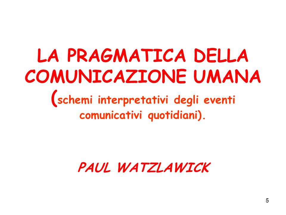 5 LA PRAGMATICA DELLA COMUNICAZIONE UMANA ( schemi interpretativi degli eventi comunicativi quotidiani). PAUL WATZLAWICK