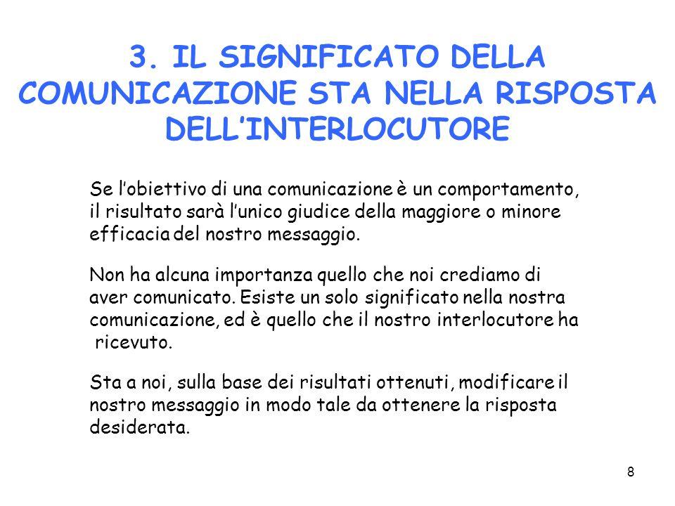 8 3. IL SIGNIFICATO DELLA COMUNICAZIONE STA NELLA RISPOSTA DELLINTERLOCUTORE Se lobiettivo di una comunicazione è un comportamento, il risultato sarà
