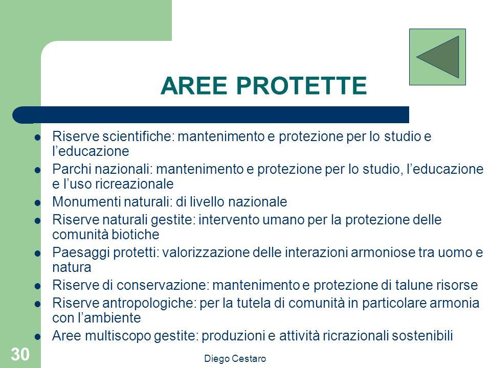 Diego Cestaro 30 AREE PROTETTE Riserve scientifiche: mantenimento e protezione per lo studio e leducazione Parchi nazionali: mantenimento e protezione