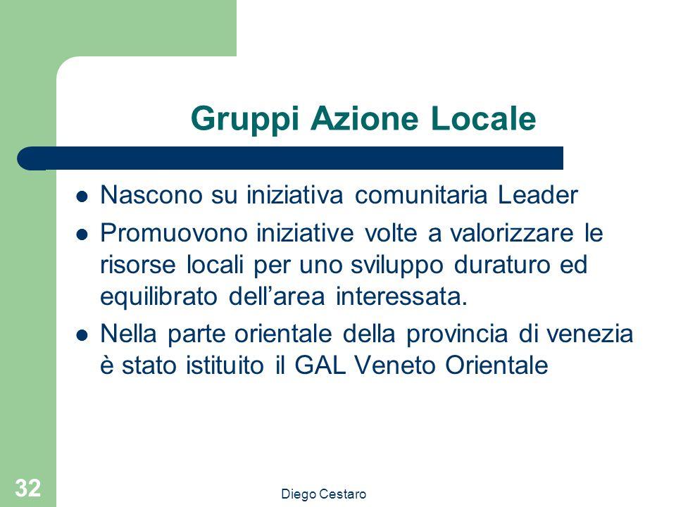 Diego Cestaro 32 Gruppi Azione Locale Nascono su iniziativa comunitaria Leader Promuovono iniziative volte a valorizzare le risorse locali per uno svi