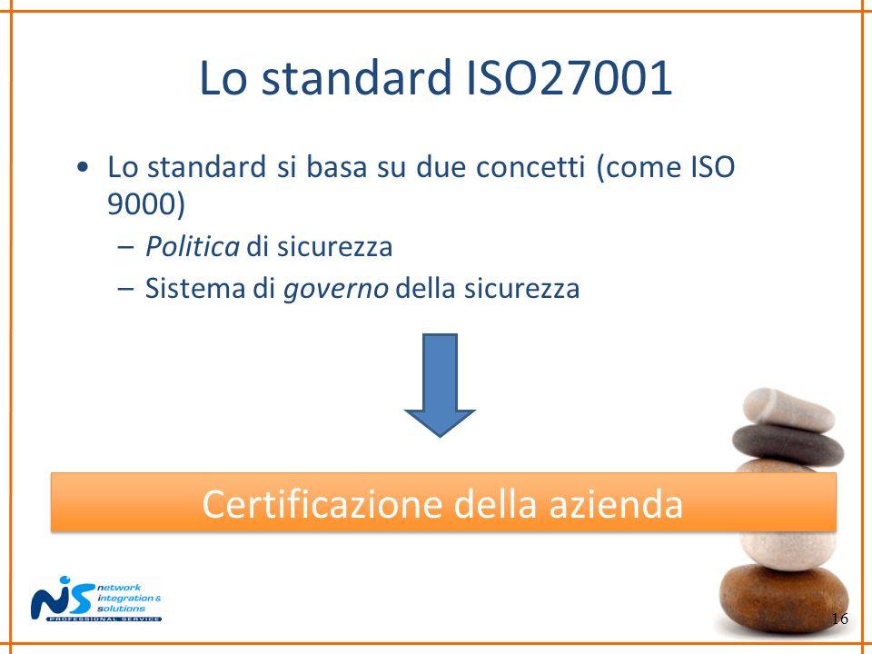 16 Lo standard ISO27001 Lo standard si basa su due concetti (come ISO 9000) –Politica di sicurezza –Sistema di governo della sicurezza Certificazione