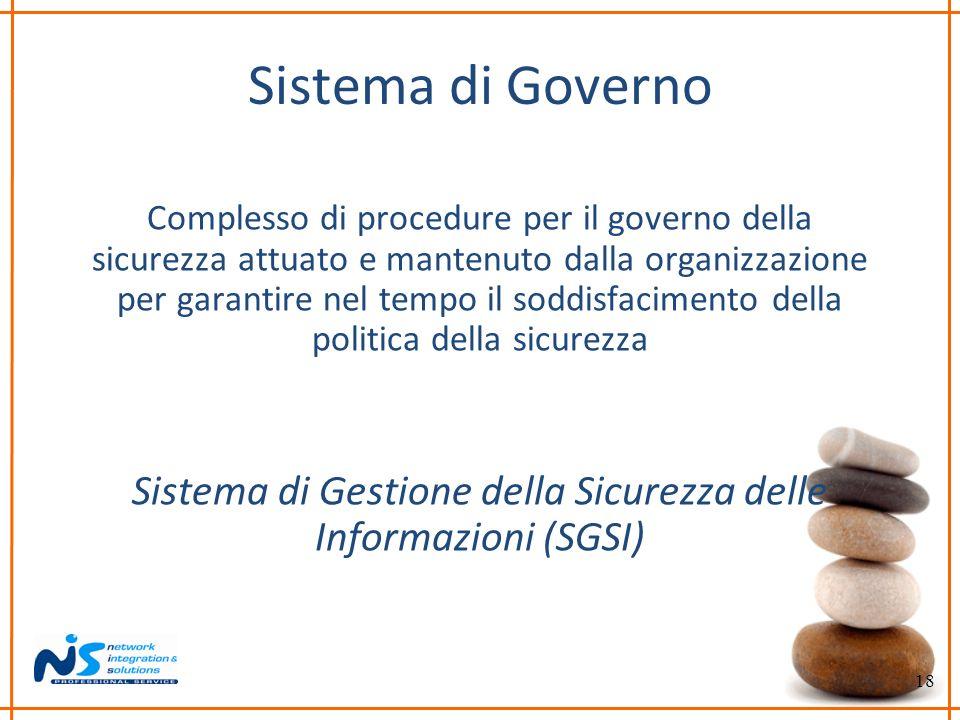 18 Sistema di Governo Complesso di procedure per il governo della sicurezza attuato e mantenuto dalla organizzazione per garantire nel tempo il soddis