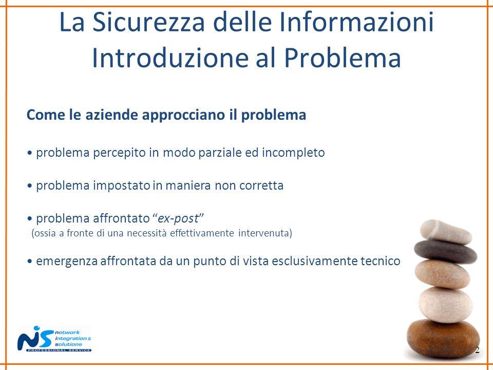 2 La Sicurezza delle Informazioni Introduzione al Problema Come le aziende approcciano il problema problema percepito in modo parziale ed incompleto p