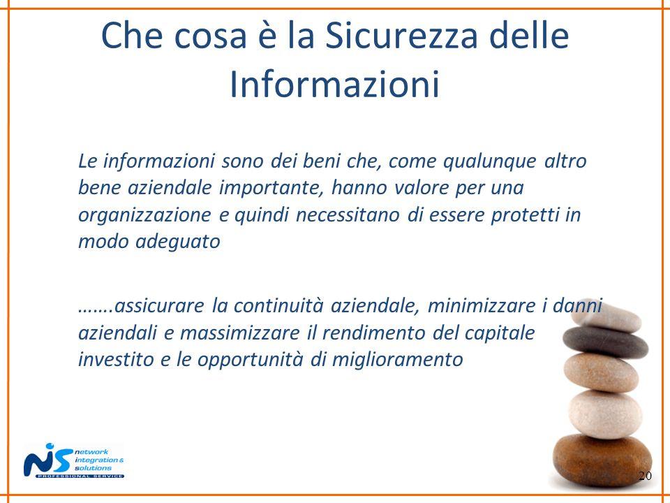20 Che cosa è la Sicurezza delle Informazioni Le informazioni sono dei beni che, come qualunque altro bene aziendale importante, hanno valore per una
